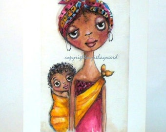 African Mother and child print ,  Wall decor , Mother and baby , Black mother and baby print , whimsical print .