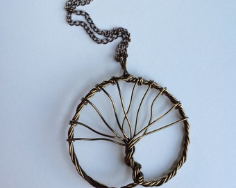 Antique Bronze Twisted Wire Tree of Life Necklace