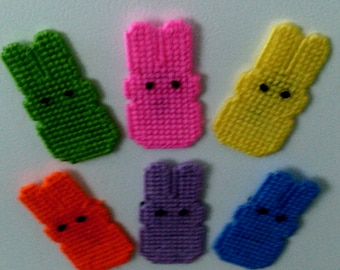 Set of 6  Needlepoint Marshamallow Bunny Magnets with 2 Free