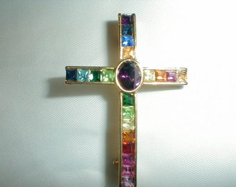 multi colored swarovski crystal cross brooch plainville stock co. p.s.co christian cross pin gold plated colorful rainbow colors jewelry