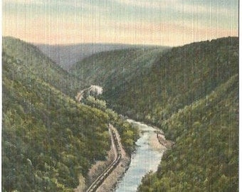 Harrison State Park Pennsylvania Train in the Gorge Southern Point View Linen Post card Vintage Postcard