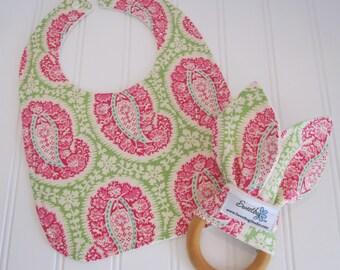 Newborn Gift Set/Infant Bib & Teether/Henna Paisley/Organic Fleece Back