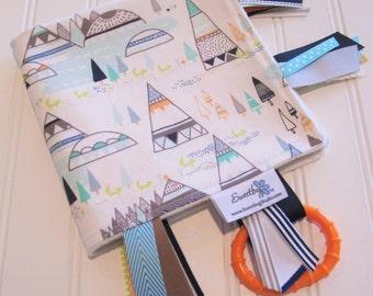 Sensory Ribbon Blanket,Lovey,Tag Blanket/Woodland Pine/Organic Cotton Fleece