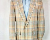 Vintage Men's Retro Blazer 39L 40L Pastel Plaid 2 Button Roll Down X Long Tall Unisex Womens Large Jacket 1960's 1970's Stanley Blacker