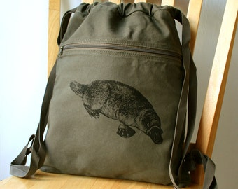 Platypus Canvas Backpack School Bag Laptop Bag