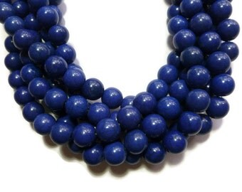 Blue Howlite - 12mm Round Bead - Full Strand - 34 beads - Blueberry Navy Dark Blue Indigo - synthetic turquoise