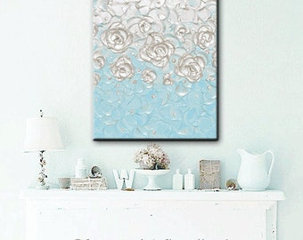 "CUSTOM Original Painting Abstract Painting Pearl White Blue Home Decor Wall Art Decor Gift Textured Sculpted Palette Knife 24x18""- Christine"