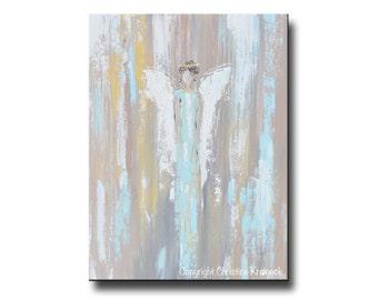 PRINTS GICLEE Prints Art Abstract Angel Painting Blue Wall Art Acrylic Painting Home Decor Canvas Spiritual Holiday Gift Christine Krainock