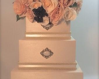 Victorian Wedding Card Box Elegant Sophisticated Wedding Card Holder Cream Pink Peach Green Victorian Wedding Card Box