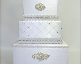 Wedding Card Box Classic White or Ivory Wedding Card Holder with slot Card Box Gift Card Secure Lock Wedding Cards Wedding Card Wedding