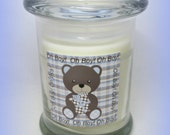 Oh Boy!  Bear  Baby Shower Favor, White with plaid, 8 ounce Soy candle, Baby Boy Gift