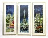 """Paris, cityscape, watercolor, Mid Century, Eiffel Tower, Notre Dame, Champs Elysees, prints, wall art, retro, 1960s, 23"""", Maurice Legendre"""