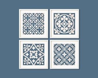"""Pattern wall art, geometric pattern, set of 4, 8""""x8"""" printable wall art. Instant download art. Wall art blue decor. Digital prints."""