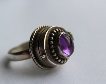 Sterling Poison Ring with Amethyst STone -Mexico