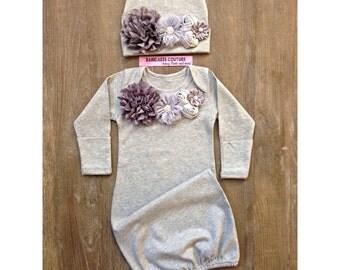 Gray Baby Gown & Beanie Set, Newborn Girl Take Home Outfit, Gray Take Home Outfit, Newborn Winter Outfit, Coming Home Outfit, Winter Layette