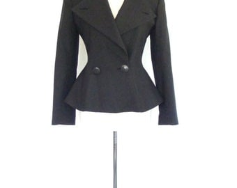Black Wool Blazer. Vintage 80s. Fit and Flare. Extra Small - Small