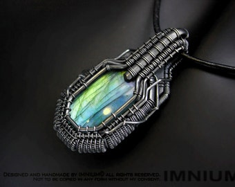 Labradorite pendant - blue teal green lime wire wrapped industrial armored pendant angular wrap borg dark spaceship giger handmade unique