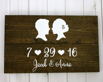 Custom Rustic Wedding Date Name Silhouette Sign - Personalized with YOUR Silhouettes Save the Date Wedding Photo Prop Rustic Decor