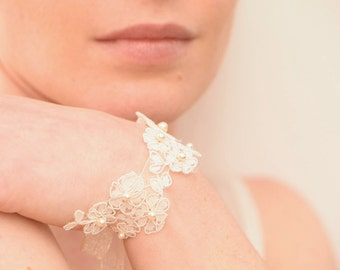 Ivory French lace bridal wristband Swarovski pearls embroided