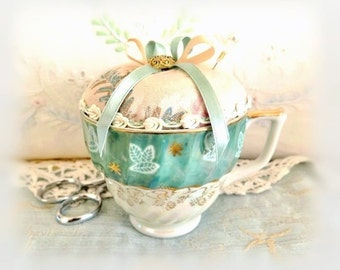 Cup Pincushion / Vintage Teacup Pincushion /  Lusterware Cup, Vintage Cup, Ivory Green Gold, Handcrafted CharlotteStyle Needlecraft