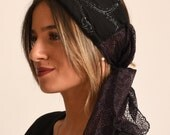 elegant black  hairband made in Israel / fancy headband for a special event / elegant turban with beads