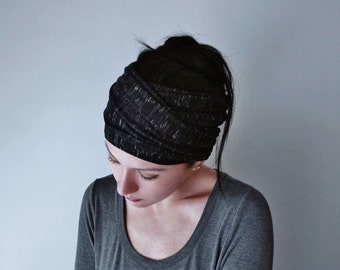 HEATHER BLACK Yoga Headband - Black and White Wide Jersey Head Scarf - Boho Hair Wrap - Bohemian Head Wrap - EcoShag Hair Accessories
