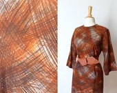 60s black grey rust paintbrush print wool shift day dress L/XL