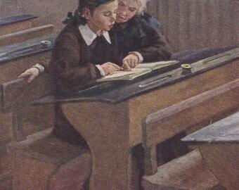"""D. Puskin """"After Class"""" Postcard -- 1955"""