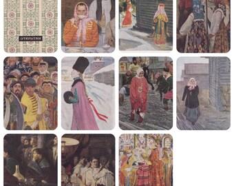 A. Riabushkin / Ryabushkin. Set of 10 Vintage Postcards (out of 12) in original cover -- 1964