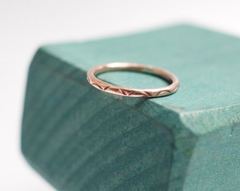 14k rose gold fill scalloped stacking ring | medium width | simple sweet alternative wedding band | stackable