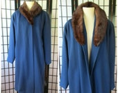 Vintage Blue Wool Coat with Mink Fur Collar Swing Coat 1940s 1950s Extra Large 44 Bust Volup XL XXL