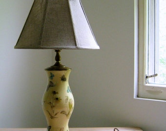 Vintage Accent Lamp, Nature, Butterflies, Flowers