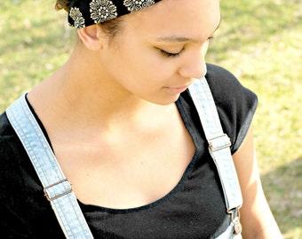 Black Floral Tie Headband, Boho Summer Hair Accessory Bandana Style Tie Headband