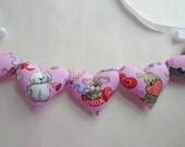 SALE~Puppy Love Valentine Garland / Valentines Day Decor / Dog Valentine / Puppy Dog Banner / Fabric Pillow Hearts Garland / String Hearts