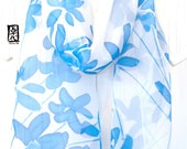 silk scarf Handpainted, Gift for her, Silk Chiffon Scarf, Blue and White Scarf, Blue Wildflowers Scarf, Silk Scarves Takuyo, 11x60 inches.