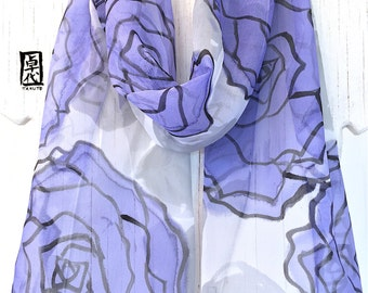 Silk Scarf Handpainted, Christmas Gift, Rose Chiffon scarf Silk, Summer Scarf, Blue Purple, Periwinkle Wispers Roses Scarf, 11x60 inches
