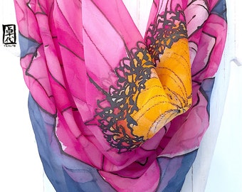 Square Silk Scarf, Large Silk Scarf Handpainted, Pink Silk Scarf, Pink and Navy Blue Garbera Daisy Scarf, Silk Chiffon Scarf, 35x35 inches,