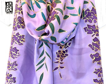 Silk Scarf Handpainted, Large Reversible Scarf, Purple and Gray Wisteria Kimono Scarf, Takuyo, 15x72 inches, Made to order