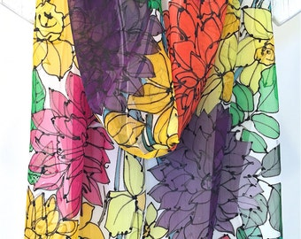 Silk Summer Scarf, Spring Scarf, Ladybugs, Daffodil Scarf, Spring Garden Party, Handpainted Scarf, Takuyo, 11x90 inches