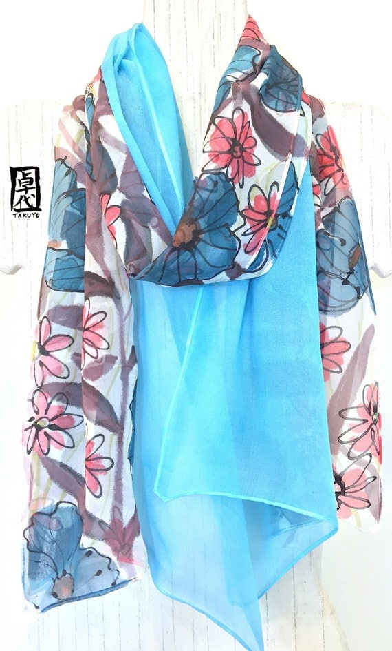 Hand painted Silk Scarf, Blue Silk Scarf, ETSY, Takuyo, Blue, Brown, Pink Wildflowers, Double Layered Chiffon, Reversible Scarf, 11x60 inch