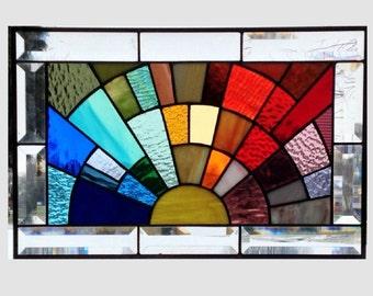 Beveled stained glass window panel rainbow arch geometric stained glass panel window hanging abstract suncatcher 0103