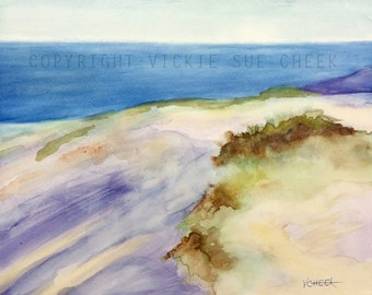 Original Impressionist Seascape Waterscape Large Painting of Ocean Beach, 16x20 Lake, Water, Wall Decor, Blue Violet Brown Sky Sand Seagrass