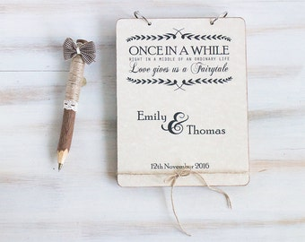 Custom Guest Book Rustic Wedding Guestbook Wood Wedding Guestbook Advice Book Unique Wedding Guestbook Vow Book Anniversary Gift
