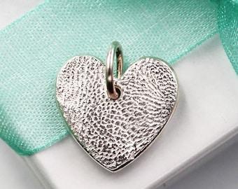 Dog Nose Jewelry Heart Charm  Custom made keepsake of pure .999 Fine Silver for Charm Bracelet, Pendant, Necklace