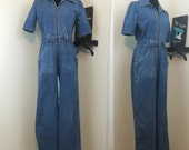 So In To You // Authentic 1970s Denim Wide Leg Jumpsuit Romper