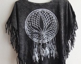 Marijuana Weed Dream Catcher hippie rock tassels t-shirt top small poncho