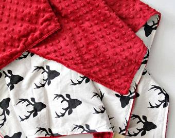 Stag Blanket, Crimson Minky, Bedding, Nursery Crib Decor,Tribal, Baby boy, Neutral Modern Baby