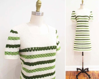 Vintage 1960s MIni Dress | Cream and Green 1960s Crochet Dress | size medium - large