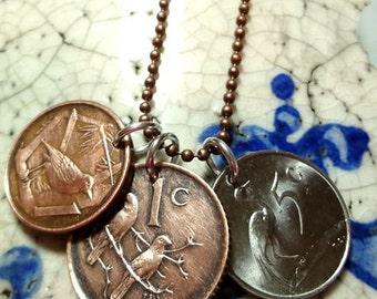 Birds Necklace. Coin necklace. Three Bird Coins necklace. Triple coin necklace. South Africa Crane, Sparrows, Cayman Islands Thrush.