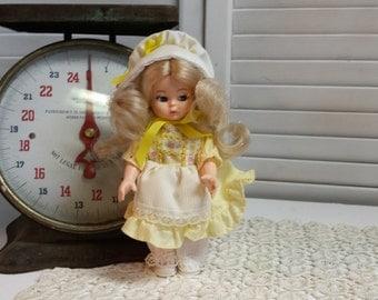Bonnet Doll Yellow Dress Blonde Hair